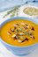 Free Pumpkin Soup With Pumpkin Oil And Seeds Close-up Royalty Free Stock Photos - 27091588