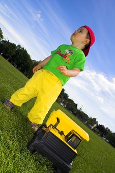 Child Playing With Truck Royalty Free Stock Photography