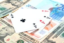 Money Playing Cards Stock Images