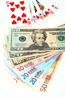 Free Money Playing Cards Royalty Free Stock Photos - 2711048
