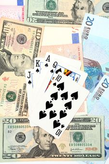 Free Money Playing Cards Royalty Free Stock Photos - 2711118