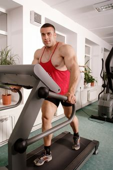 Free Man On Treadmill Royalty Free Stock Image - 2711206