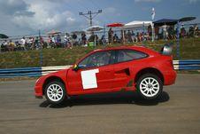 Rally Car Jump On Tarmac Royalty Free Stock Image