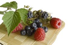 Bilberries,blackberry And Rasp Stock Photos