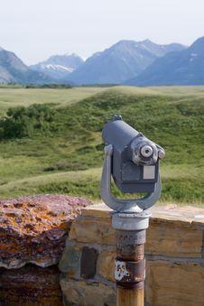 Telescope Overlooking Mountain Stock Photography