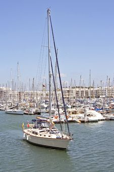 Sailing Yacht In The Harbor Stock Photo