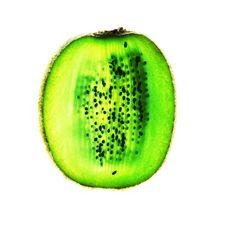 Kiwi Fruit Slice On White Royalty Free Stock Photos