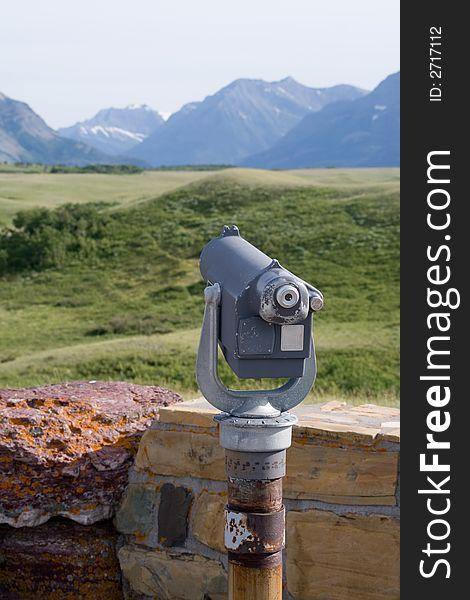 Telescope overlooking mountain