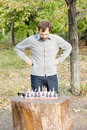 Free Man Planning His Chess Strategy Stock Images - 27101094