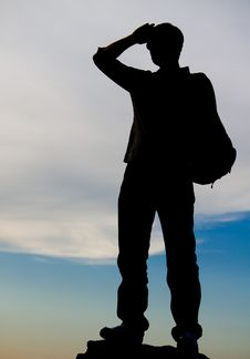 Free Man Standing On Top Of A Rock Stock Photography - 27100962
