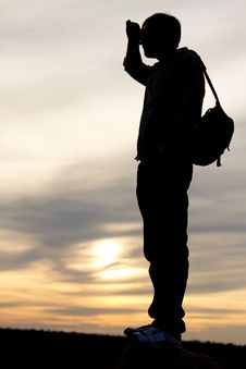 Free Silhouette Of A Man Looking Into Distance Royalty Free Stock Photography - 27100967