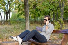 Man Chatting On His Mobile Stock Images