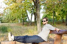 Free Young Man Relaxing In The Sun Royalty Free Stock Images - 27101019