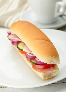 Free Small Sandwich With Deli Meats And Vegetables Stock Photos - 27102843