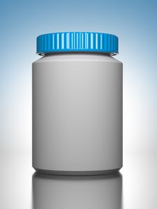 Free Pill Bottle On Blue Background. Stock Photo - 27104640