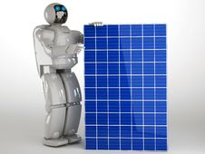 Free Robot And Solar Panel Royalty Free Stock Image - 27108036