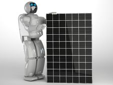 Free Robot And Solar Panel Royalty Free Stock Image - 27108056