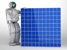 Free Robot And Solar Panel Stock Images - 27108134