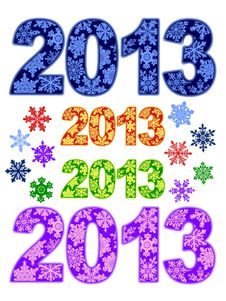 2013 Decorated With Snowflakes Royalty Free Stock Photo