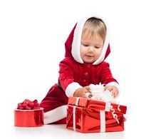Free Santa Claus Baby Girl Opening Gift Box Royalty Free Stock Photos - 27113808