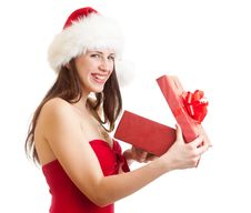Free Santa Girl With Gift Box Isolated On White Royalty Free Stock Photo - 27113975