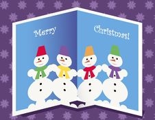 Free Christmas Card With Snowmen Royalty Free Stock Photos - 27118218