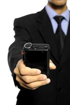 Free Business Man Hold Dictaphone Royalty Free Stock Photos - 27118618