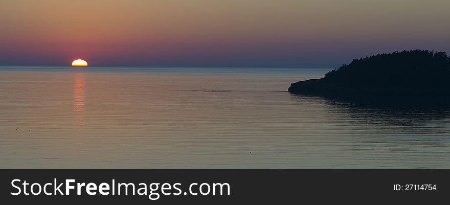 Island Sunset Pacific Ocean West Coast