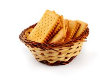 Free Pile Of Tea Biscuits In A Straw Basket Stock Images - 27122764