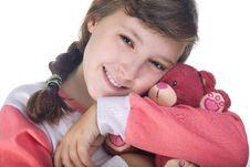 Free Girl Hugging Teddy Bear Stock Image - 27124221