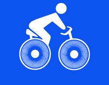 Free White Silhouette Of Cyclist On Blue Royalty Free Stock Photography - 27125217