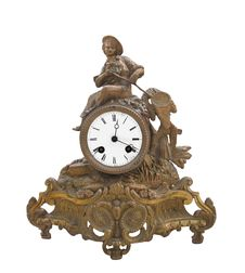 Free Antique Fancy Brass Table Clock Isolated Stock Photo - 27127760