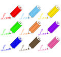 Free Set Of Colorful Pencils With Love Stock Photos - 27139183