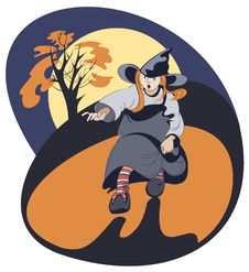 Free Running Girl In Witch Costume Stock Images - 27135364