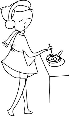 Free Freehand Sketch Cartoon Girl Cooking Stock Photos - 27137893