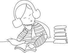 Free Freehand Sketch Cartoon Girl Relax Reading Stock Photography - 27137902