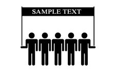 People Silhouettes Team Hold Banner Royalty Free Stock Photography