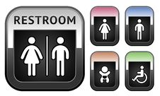 Free Restroom Symbol, Metallic Button Stock Photos - 27140193