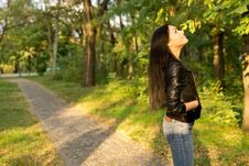 Free Woman Looking At Trees Stock Images - 27141034