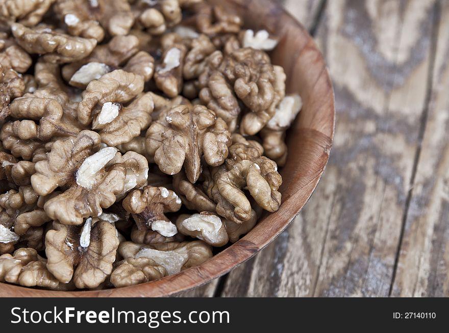 Walnut in wooden bowl