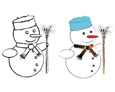 Free B&W And Colored Snowmen Royalty Free Stock Image - 27150426