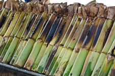 Free Glutinous Rice Roasted In Bamboo Joints. Royalty Free Stock Image - 27155256