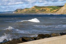 Dorset Coastline From West Bay Harbour Wall Stock Photo