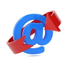 Email Icon With Red Arrow. Stock Photo