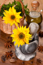Free Spices, Olive Oil And Sunflower Flower In A Mortar Stock Images - 27160424