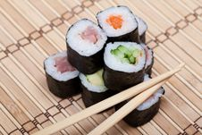 Free Chopsticks And Sushi On Bamboo Mat Stock Photos - 27160233