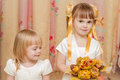 Free Two Little Girl With Bouquet Of Autumn Leaves Stock Photo - 27172530