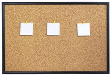 Free Cork Board With Three Pieces Of Paper. Stock Image - 27176941