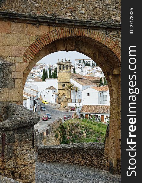 Spanish white town Ronda near the Old bridge