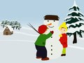 Free Children Making A Snowman. Winter Illustration. Stock Photos - 27184773